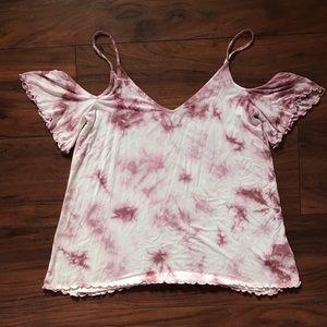 AEO Pink Tie-Dye Cold Shoulder Top